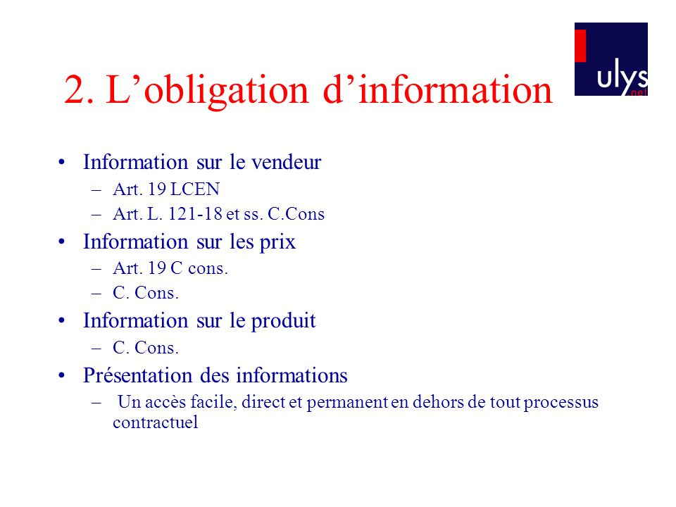 2.Lobligation dinformation Information sur le vendeur –Art.