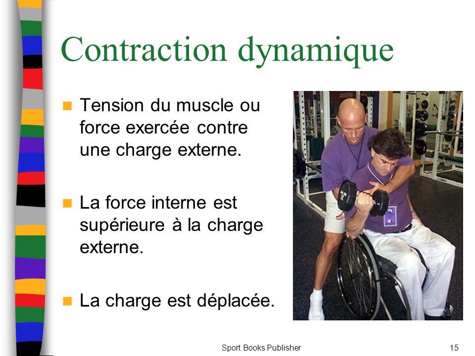Sport Books Publisher15 Contraction dynamique Tension du muscle ou force exercée contre une charge externe. La force interne est supérieure à la charg