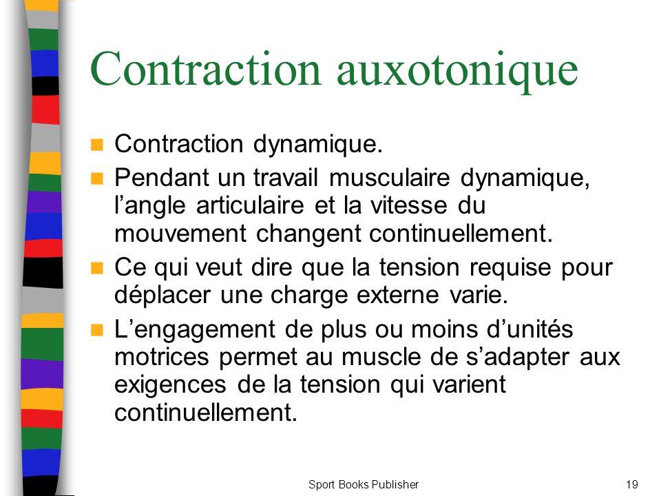 Sport Books Publisher19 Contraction auxotonique Contraction dynamique. Pendant un travail musculaire dynamique, langle articulaire et la vitesse du mo