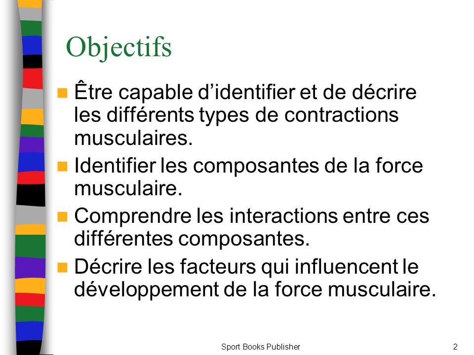 Sport Books Publisher2 Objectifs Être capable didentifier et de décrire les différents types de contractions musculaires. Identifier les composantes d