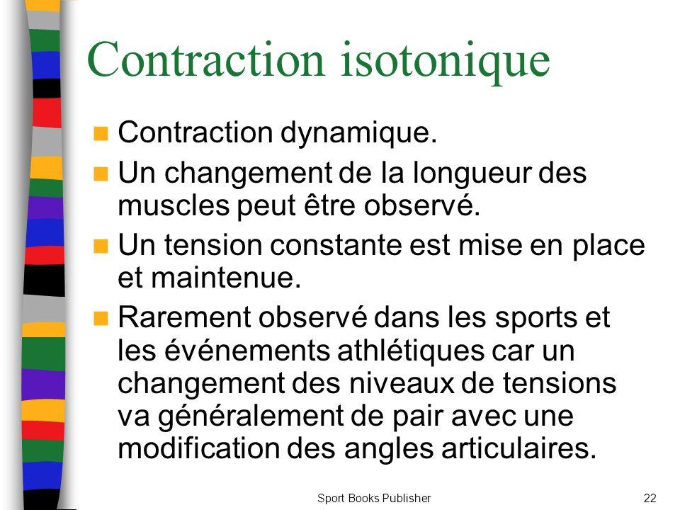 Sport Books Publisher22 Contraction isotonique Contraction dynamique. Un changement de la longueur des muscles peut être observé. Un tension constante