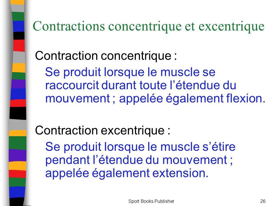 Sport Books Publisher26 Contractions concentrique et excentrique Contraction concentrique : Se produit lorsque le muscle se raccourcit durant toute lé