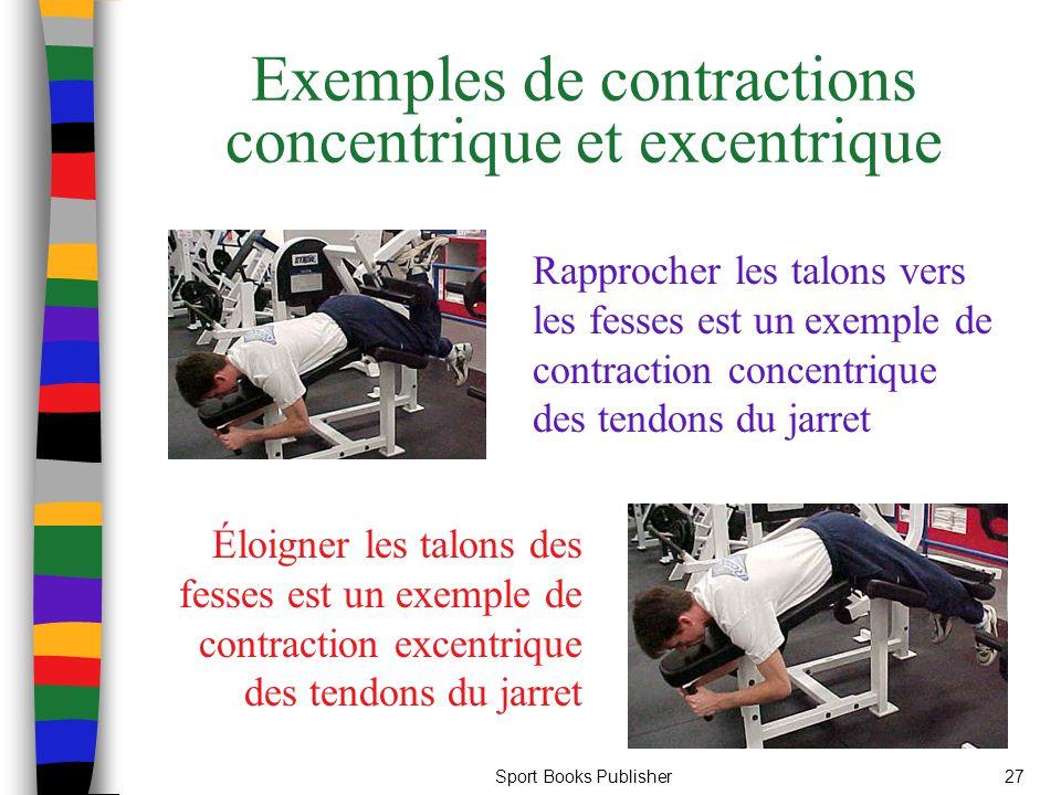 Sport Books Publisher27 Exemples de contractions concentrique et excentrique Rapprocher les talons vers les fesses est un exemple de contraction conce