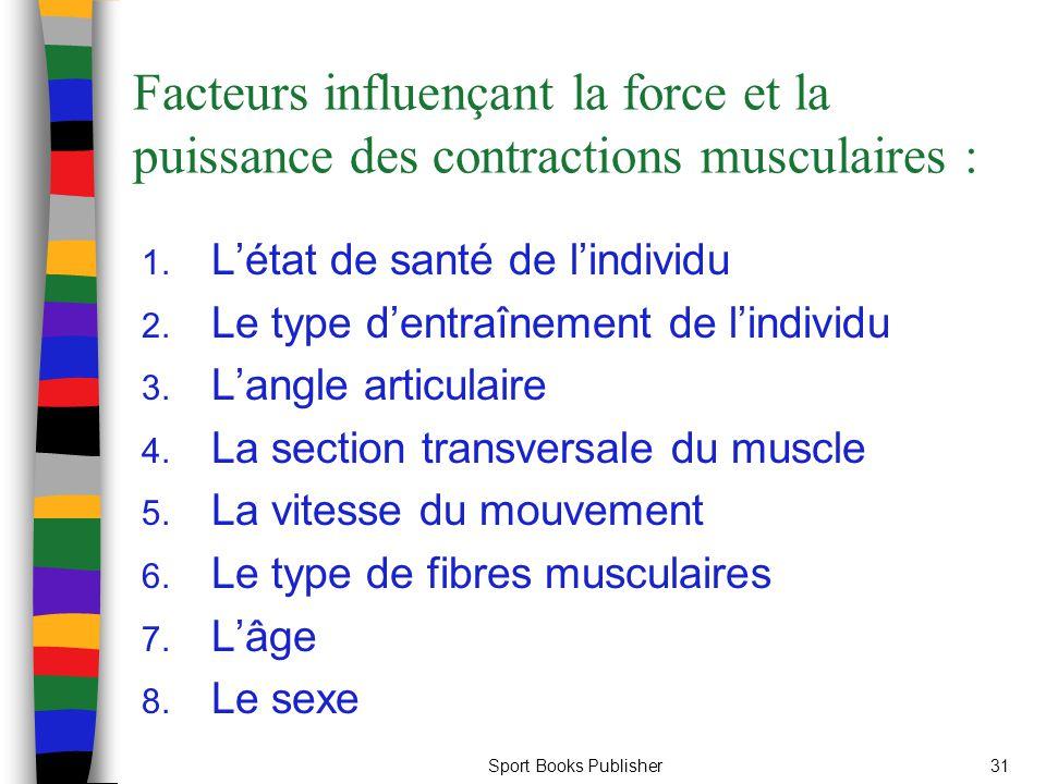 Sport Books Publisher31 Facteurs influençant la force et la puissance des contractions musculaires : 1. Létat de santé de lindividu 2. Le type dentraî