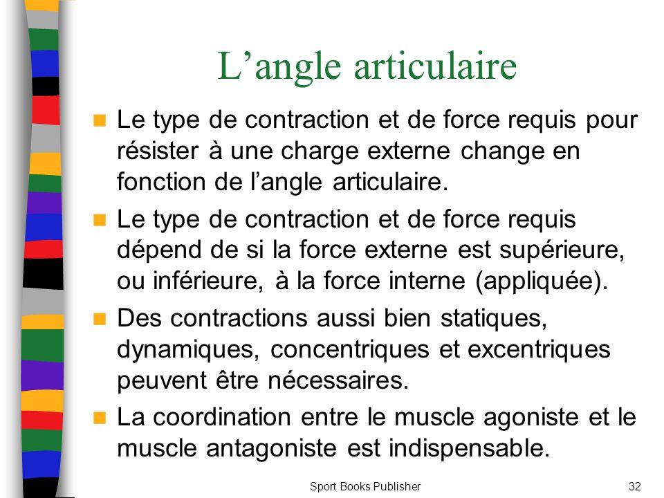 Sport Books Publisher32 Langle articulaire Le type de contraction et de force requis pour résister à une charge externe change en fonction de langle a