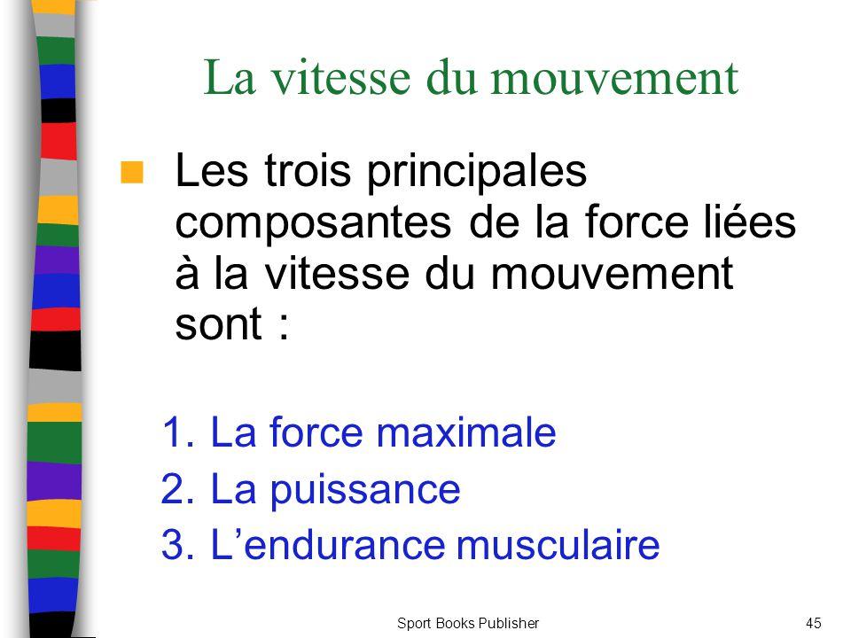 Sport Books Publisher45 La vitesse du mouvement Les trois principales composantes de la force liées à la vitesse du mouvement sont : 1.La force maxima