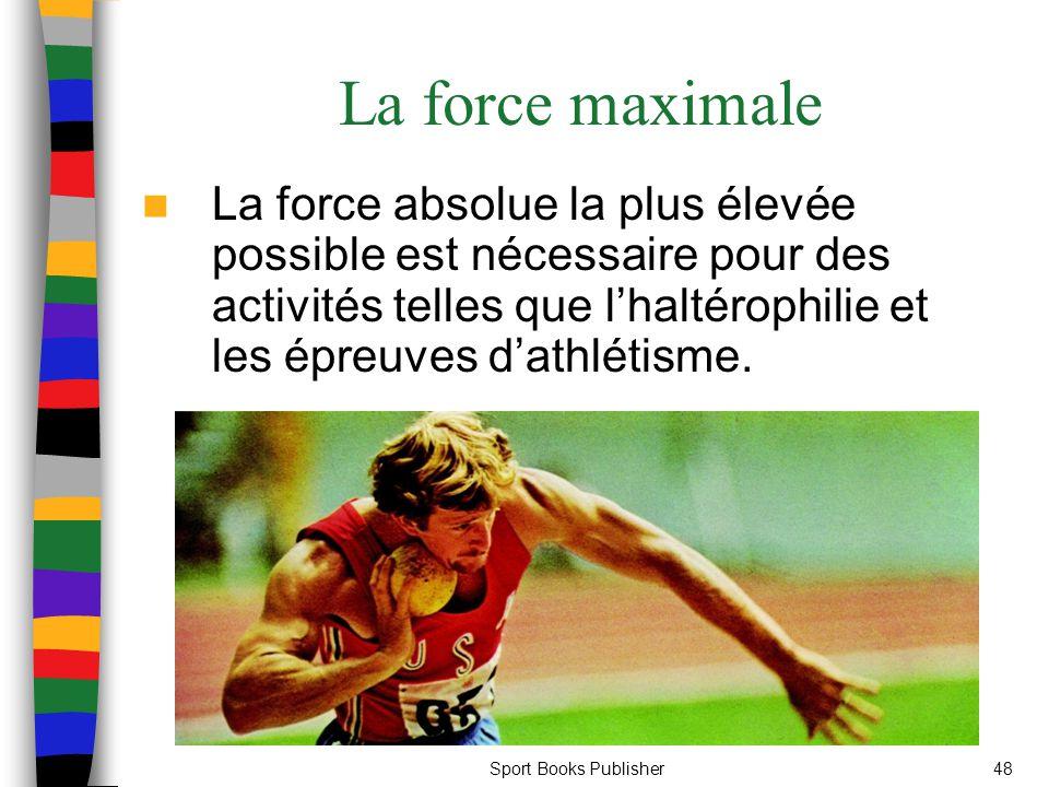 Sport Books Publisher48 La force maximale La force absolue la plus élevée possible est nécessaire pour des activités telles que lhaltérophilie et les