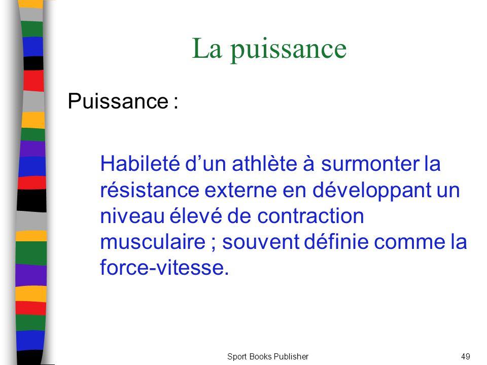 Sport Books Publisher49 La puissance Puissance : Habileté dun athlète à surmonter la résistance externe en développant un niveau élevé de contraction