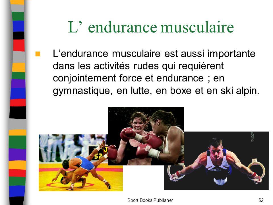 Sport Books Publisher52 L endurance musculaire Lendurance musculaire est aussi importante dans les activités rudes qui requièrent conjointement force