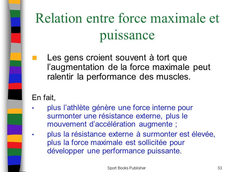 Sport Books Publisher53 Relation entre force maximale et puissance Les gens croient souvent à tort que laugmentation de la force maximale peut ralenti