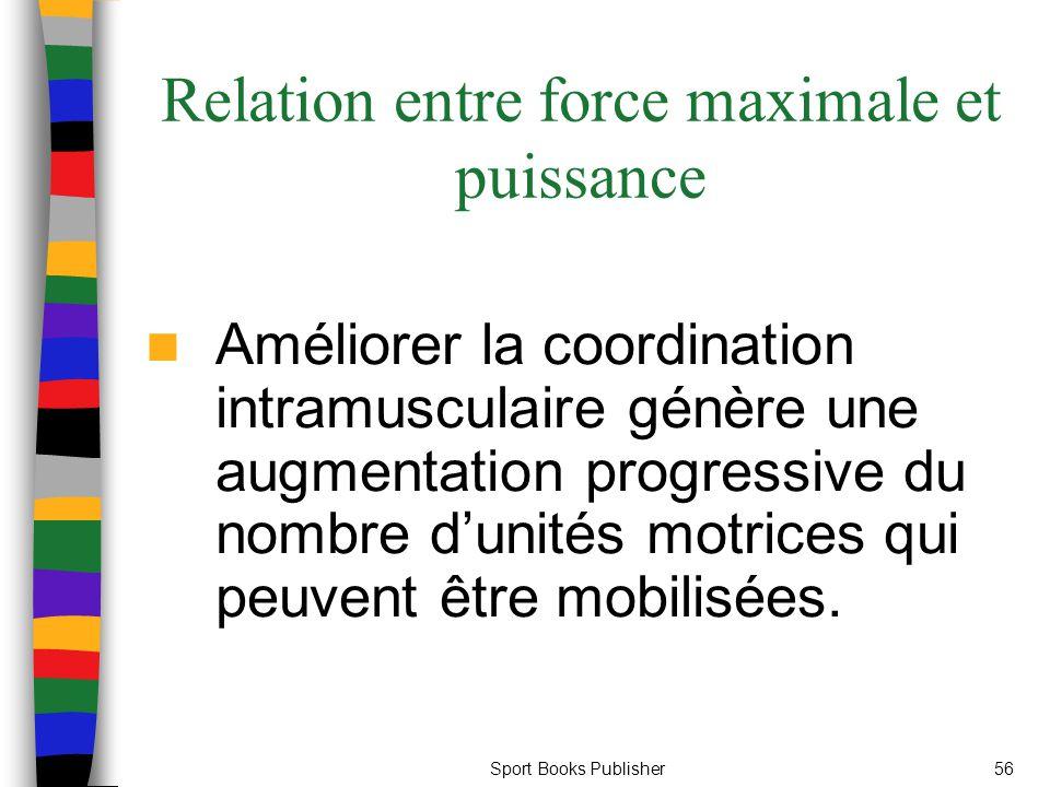 Sport Books Publisher56 Relation entre force maximale et puissance Améliorer la coordination intramusculaire génère une augmentation progressive du no