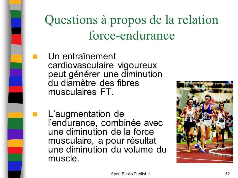 Sport Books Publisher62 Questions à propos de la relation force-endurance Un entraînement cardiovasculaire vigoureux peut générer une diminution du di