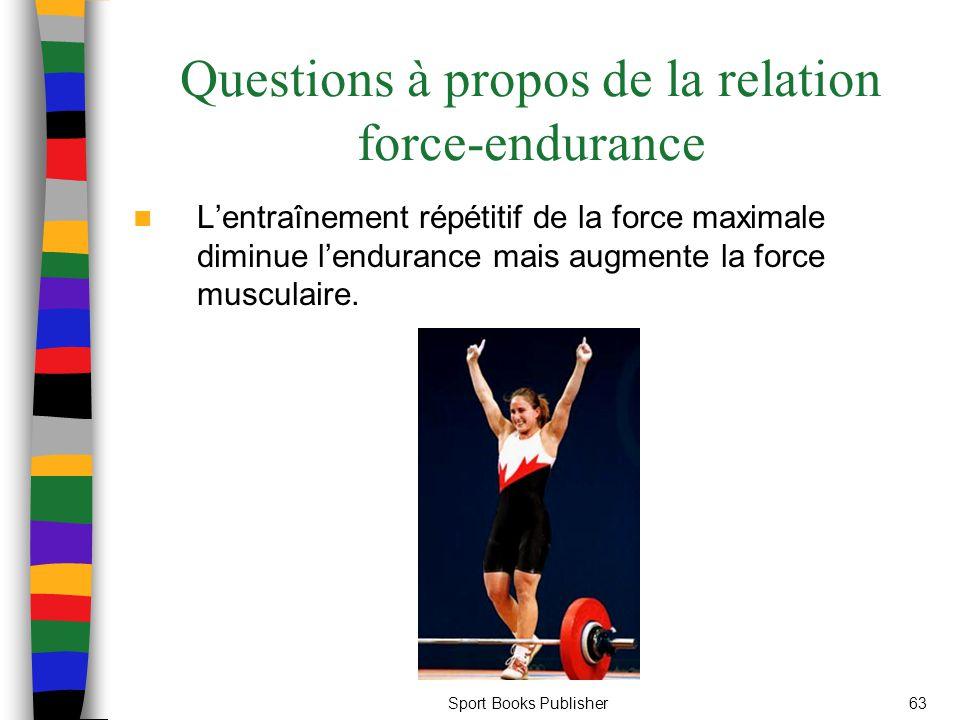 Sport Books Publisher63 Questions à propos de la relation force-endurance Lentraînement répétitif de la force maximale diminue lendurance mais augment