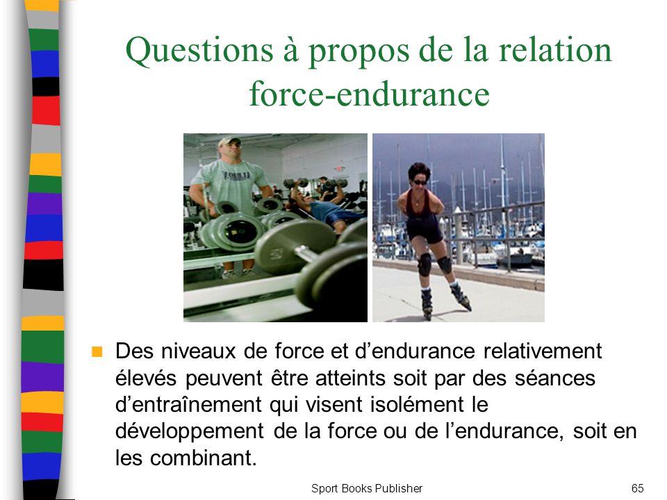 Sport Books Publisher65 Questions à propos de la relation force-endurance Des niveaux de force et dendurance relativement élevés peuvent être atteints