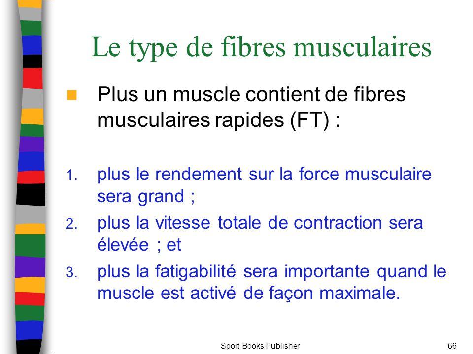 Sport Books Publisher66 Le type de fibres musculaires Plus un muscle contient de fibres musculaires rapides (FT) : 1. plus le rendement sur la force m