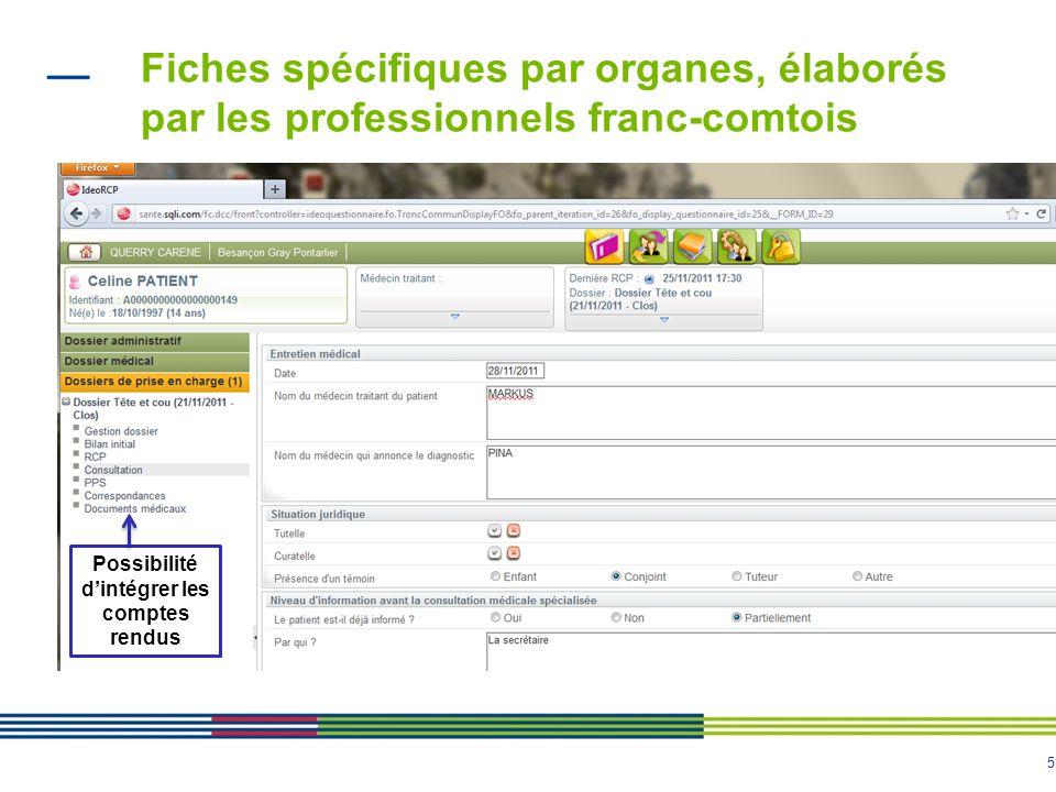 5 Fiches spécifiques par organes, élaborés par les professionnels franc-comtois Possibilité dintégrer les comptes rendus