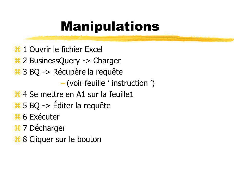 Manipulations z1 Ouvrir le fichier Excel z2 BusinessQuery -> Charger z3 BQ -> Récupère la requête –(voir feuille instruction ) z4 Se mettre en A1 sur la feuille1 z5 BQ -> Éditer la requête z6 Exécuter z7 Décharger z8 Cliquer sur le bouton