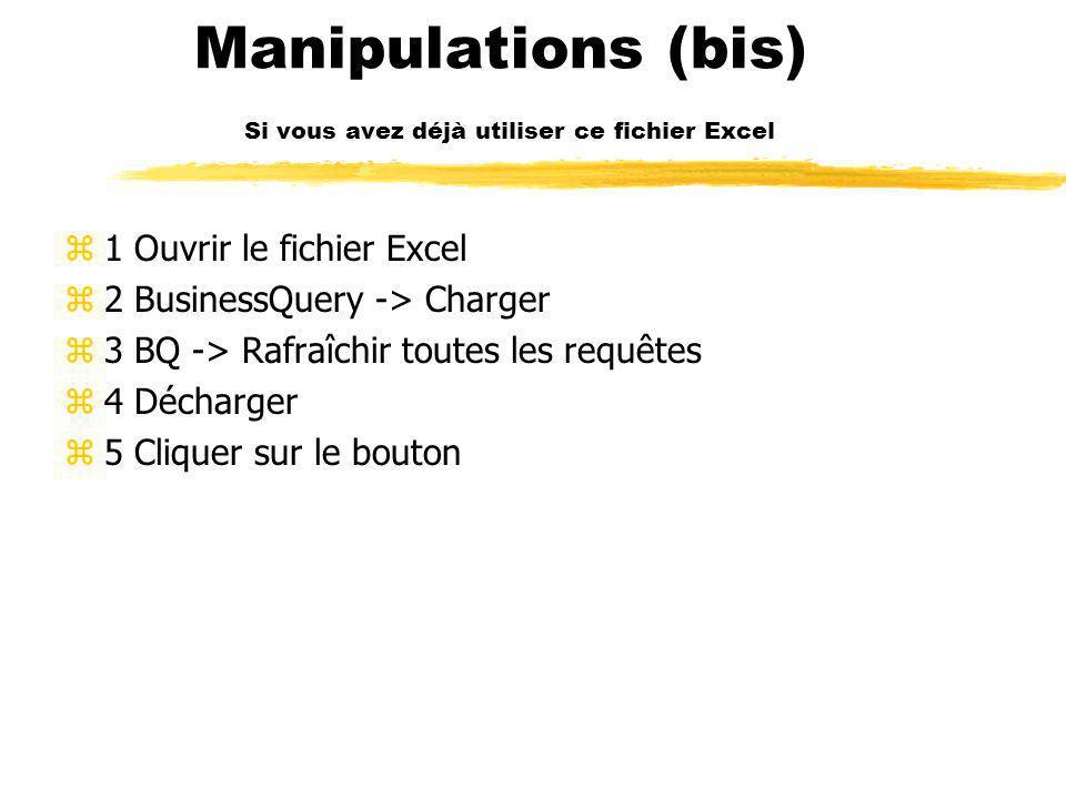 Manipulations z1 Ouvrir le fichier Excel z2 BusinessQuery -> Charger z3 BQ -> Récupère la requête –(voir feuille instruction ) z4 Se mettre en A1 sur