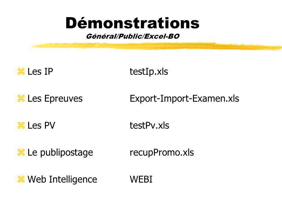 Démonstrations Général/Public/Excel-BO zLes IP testIp.xls zLes Epreuves Export-Import-Examen.xls zLes PV testPv.xls zLe publipostagerecupPromo.xls zWeb IntelligenceWEBI
