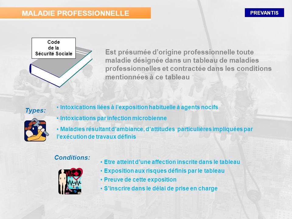 PREVANTIS Est présumée dorigine professionnelle toute maladie désignée dans un tableau de maladies professionnelles et contractée dans les conditions