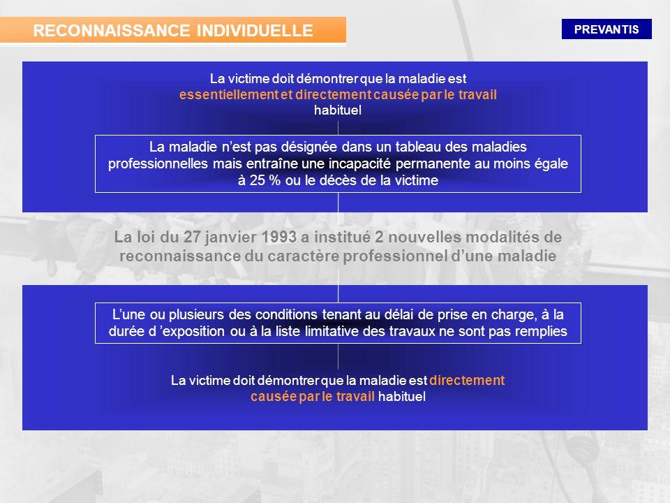 PREVANTIS La loi du 27 janvier 1993 a institué 2 nouvelles modalités de reconnaissance du caractère professionnel dune maladie Lune ou plusieurs des c