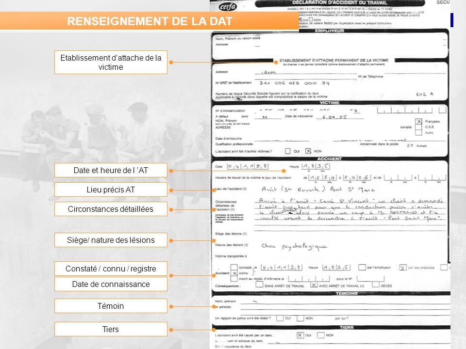 PREVANTIS Etablissement dattache de la victime Date et heure de l AT RENSEIGNEMENT DE LA DAT Date de connaissance Lieu précis AT Circonstances détaill