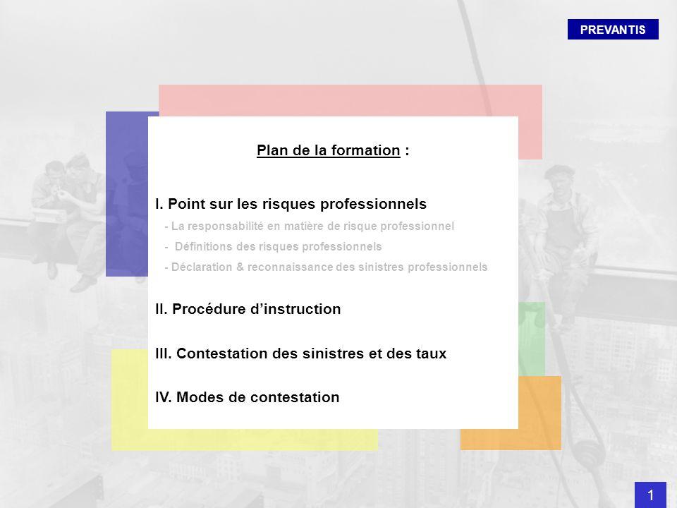 Plan de la formation : I. Point sur les risques professionnels - La responsabilité en matière de risque professionnel - Définitions des risques profes