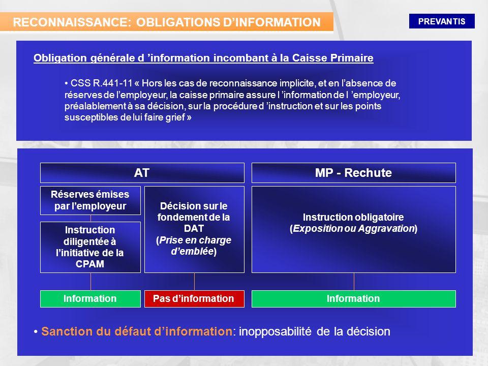 PREVANTIS RECONNAISSANCE: OBLIGATIONS DINFORMATION CSS R.441-11 « Hors les cas de reconnaissance implicite, et en labsence de réserves de lemployeur,