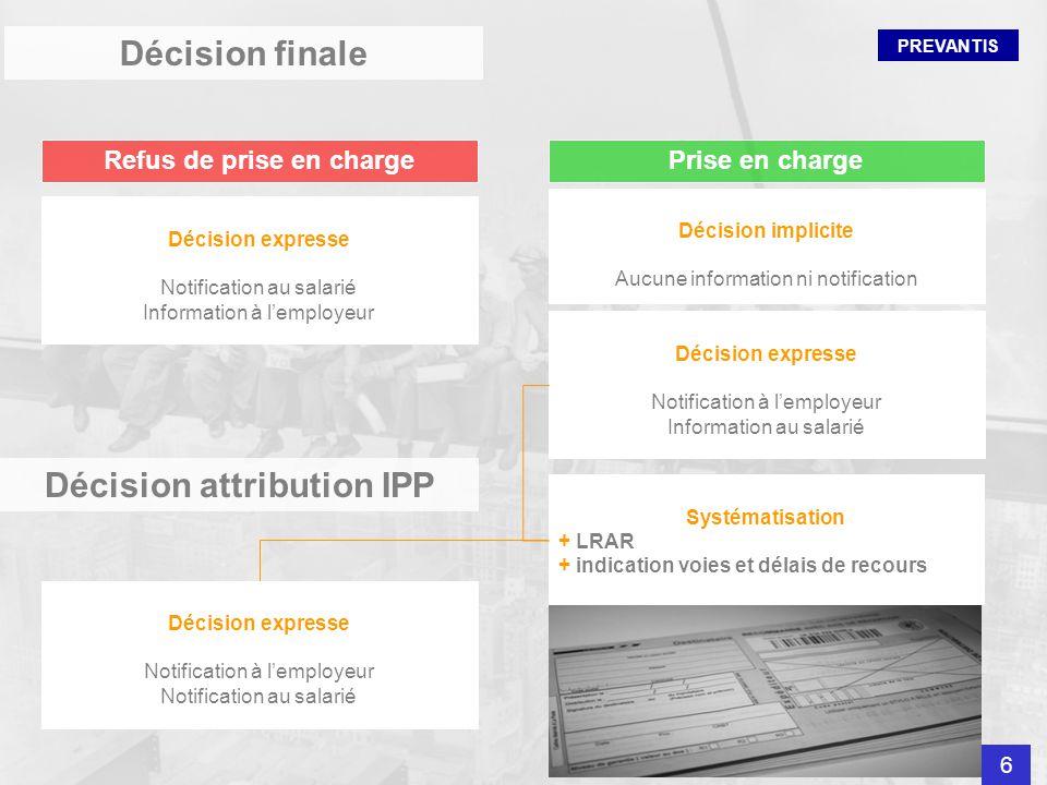 PREVANTIS Décision finale Refus de prise en chargePrise en charge Décision expresse Notification au salarié Information à lemployeur Décision expresse