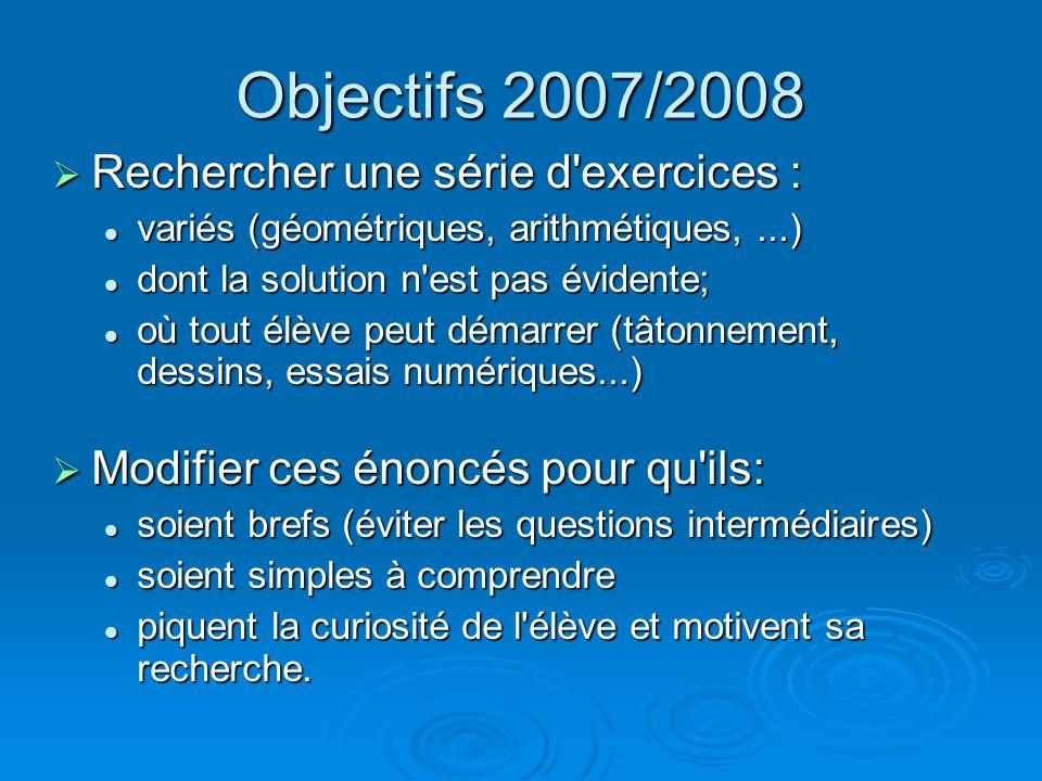 Objectifs 2007/2008 Rechercher une série d'exercices : Rechercher une série d'exercices : variés (géométriques, arithmétiques,...) variés (géométrique