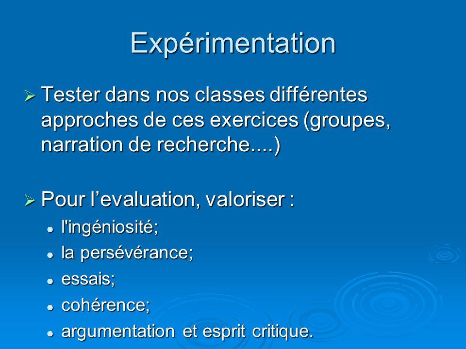 Expérimentation Tester dans nos classes différentes approches de ces exercices (groupes, narration de recherche....) Tester dans nos classes différent