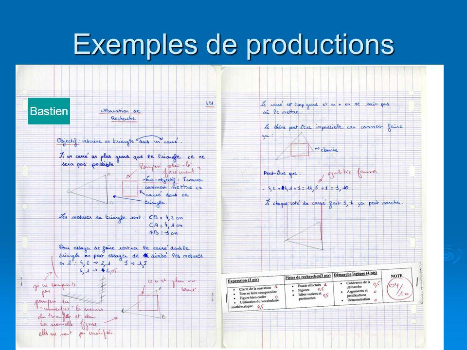 Exemples de productions Bastien
