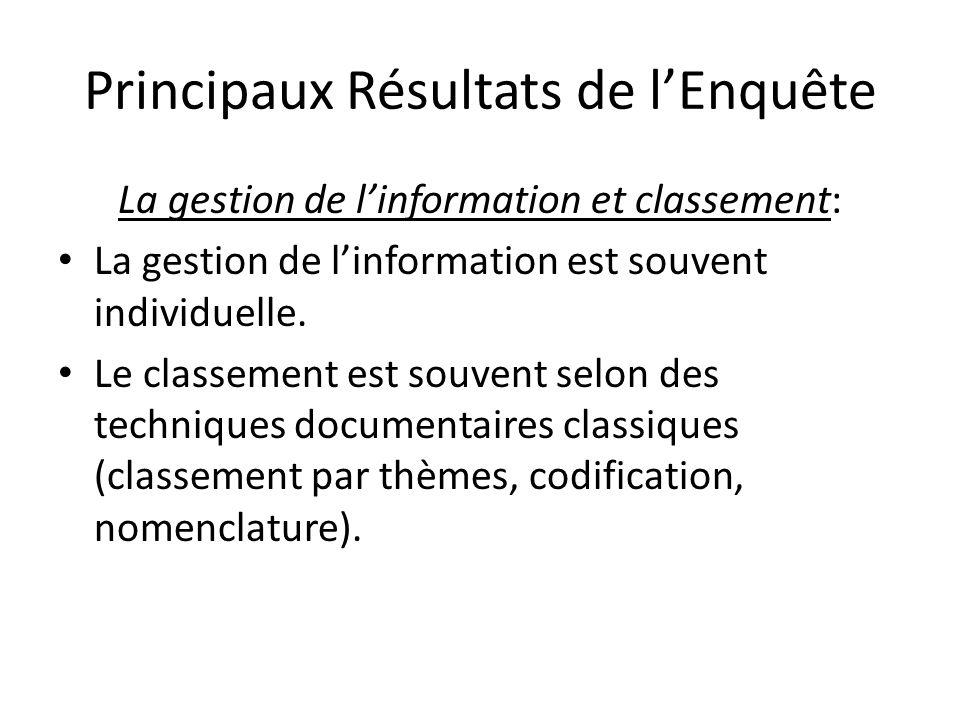 Principaux Résultats de lEnquête les informations nécessaires aux entreprises sont de type: - Interne (technique, normative, produits, commerciales).