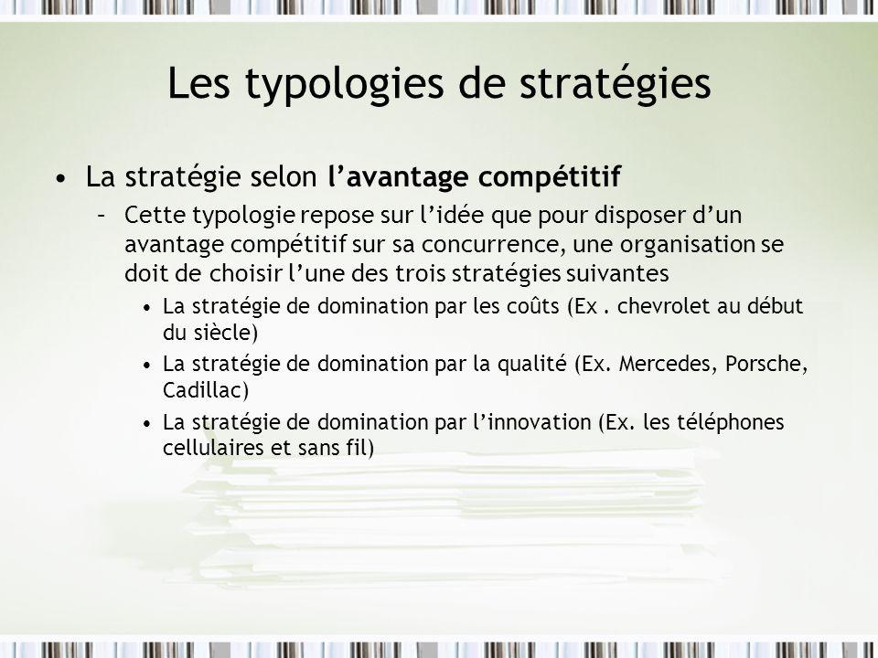 Les typologies de stratégies (suite) La typologie des stratégies de développement selon le cycle de vie du produit Cette typologie est basée sur la notion de temps et dévolution Elle renferme cinq stratégies –La stratégie démergence –La stratégie de croissance –La stratégie de maturité –La stratégie de décroissance –La stratégie de revirement