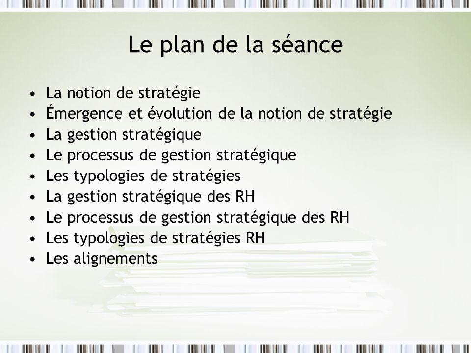 Le plan de la séance La notion de stratégie Émergence et évolution de la notion de stratégie La gestion stratégique Le processus de gestion stratégiqu