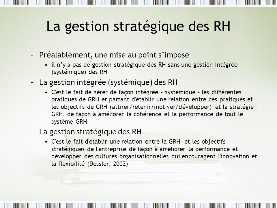 La gestion stratégique des RH –Préalablement, une mise au point simpose il ny a pas de gestion stratégique des RH sans une gestion intégrée (systémiqu