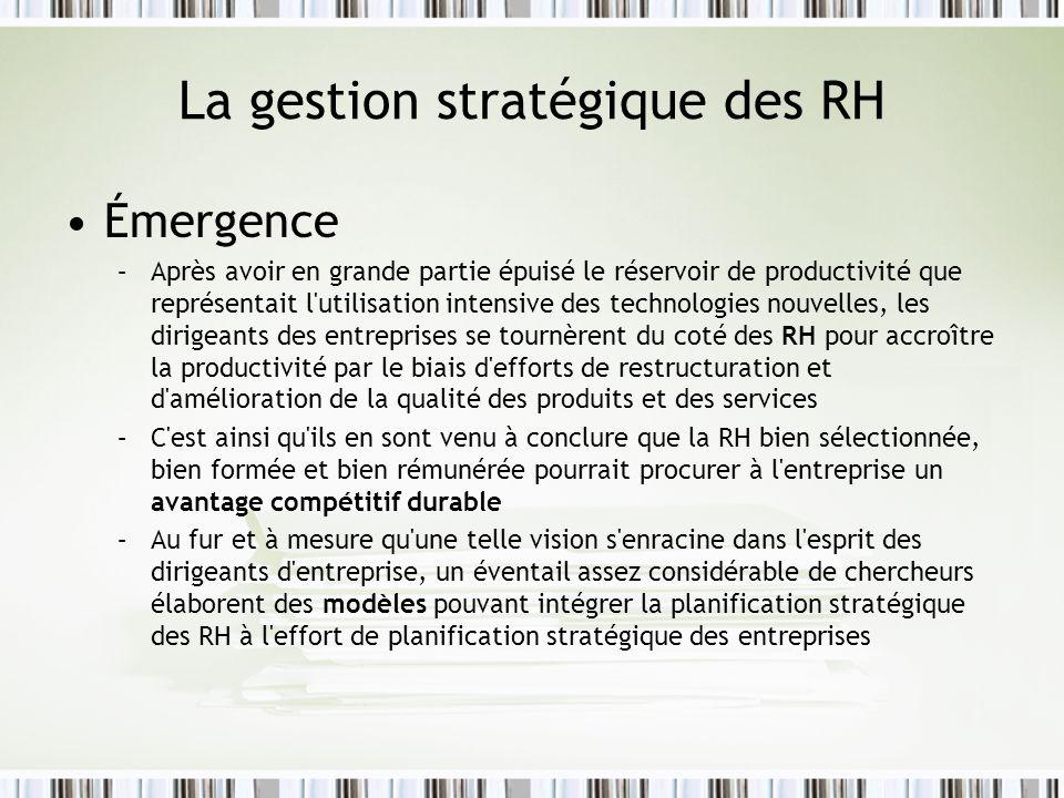 La gestion stratégique des RH (suite) Déterminants de la stratégie RH –Objectifs organisationnels –Stratégie dévolution ou de développement –Environnement externe RH Menaces et opportunités visualisées par le marché de lemploi –Environnement interne RH Forces et faiblesses du profil RH de lentreprise