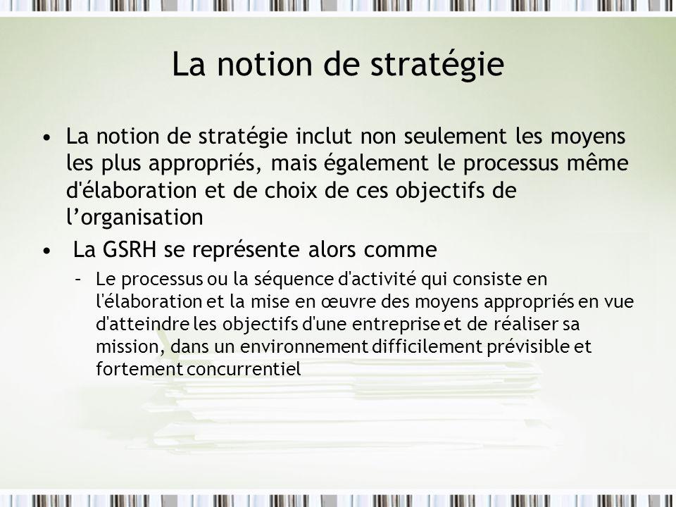 La notion de stratégie La notion de stratégie inclut non seulement les moyens les plus appropriés, mais également le processus même d'élaboration et d
