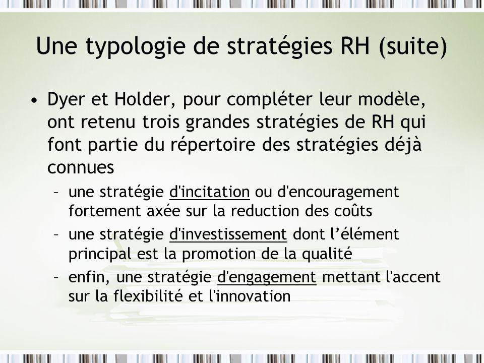 Une typologie de stratégies RH (suite) Dyer et Holder, pour compléter leur modèle, ont retenu trois grandes stratégies de RH qui font partie du répert