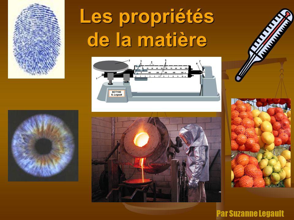 Les propriétés de la matière Par Suzanne Legault