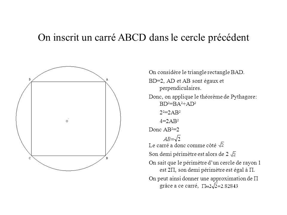On inscrit un carré ABCD dans le cercle précédent On considère le triangle rectangle BAD. BD=2, AD et AB sont égaux et perpendiculaires. Donc, on appl