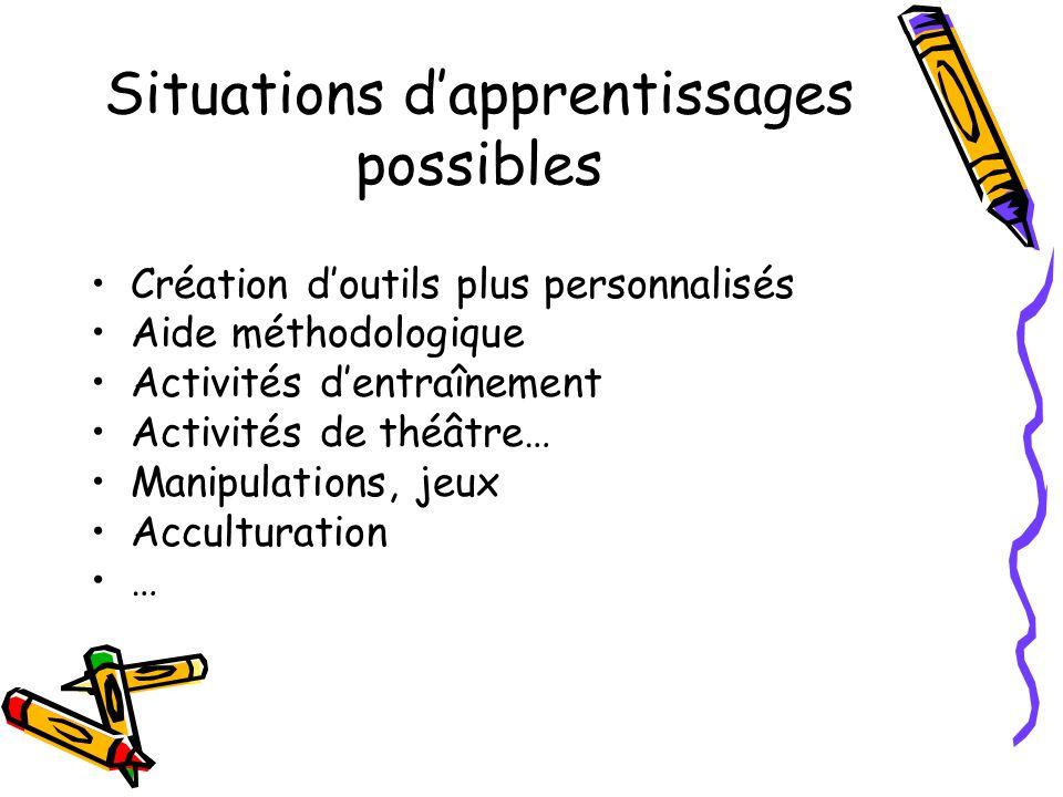 Situations dapprentissages possibles Création doutils plus personnalisés Aide méthodologique Activités dentraînement Activités de théâtre… Manipulations, jeux Acculturation …