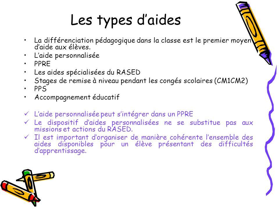 Les types daides La différenciation pédagogique dans la classe est le premier moyen daide aux élèves.