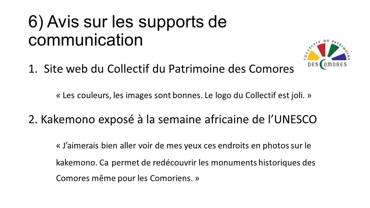 6) Avis sur les supports de communication 1.Site web du Collectif du Patrimoine des Comores « Les couleurs, les images sont bonnes.