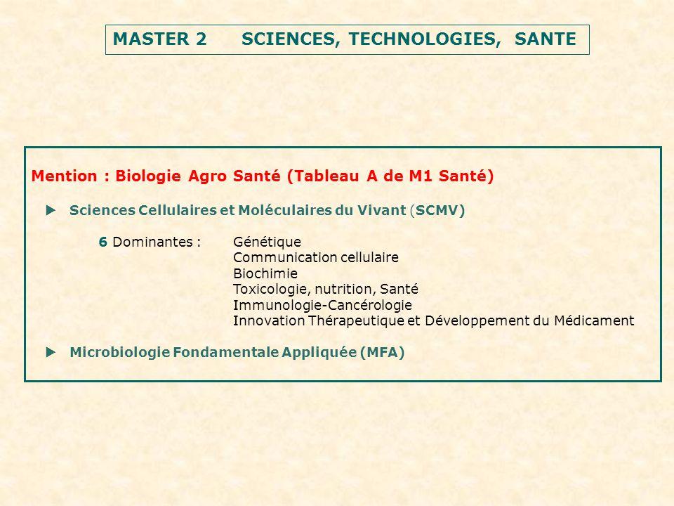 MASTER 2 SCIENCES, TECHNOLOGIES, SANTE Mention : Biologie Agro Santé (Tableau A de M1 Santé) Sciences Cellulaires et Moléculaires du Vivant (SCMV) 6 Dominantes :Génétique Communication cellulaire Biochimie Toxicologie, nutrition, Santé Immunologie-Cancérologie Innovation Thérapeutique et Développement du Médicament Microbiologie Fondamentale Appliquée (MFA)
