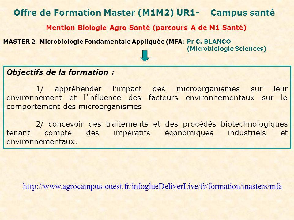 Mention Biologie Agro Santé (parcours A de M1 Santé) MASTER 2 Microbiologie Fondamentale Appliquée (MFA ) Pr C.