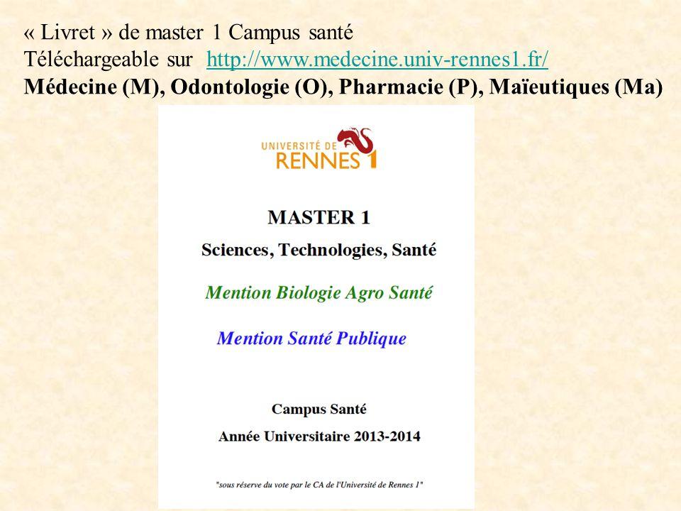 « Livret » de master 1 Campus santé Téléchargeable sur http://www.medecine.univ-rennes1.fr/http://www.medecine.univ-rennes1.fr/ Médecine (M), Odontologie (O), Pharmacie (P), Maïeutiques (Ma)