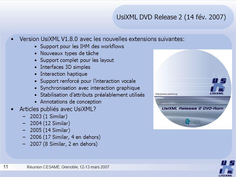 11 Réunion CESAME, Grenoble, 12-13 mars 2007 UsiXML DVD Release 2 (14 fév.