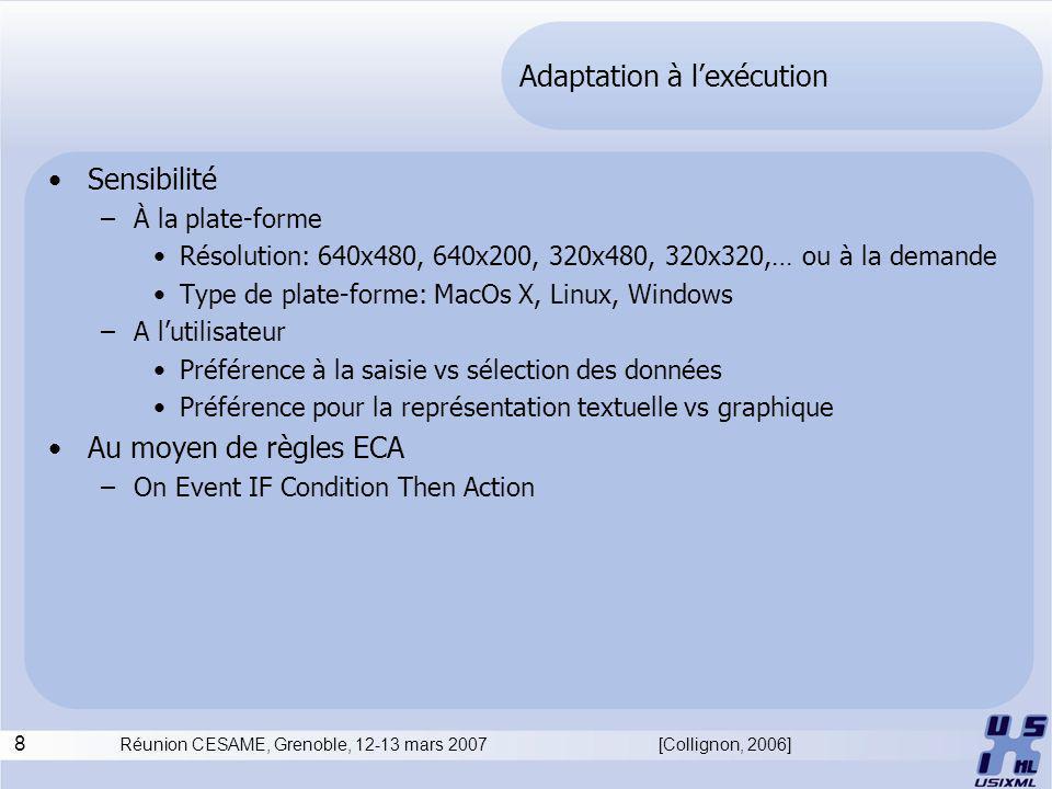 8 Réunion CESAME, Grenoble, 12-13 mars 2007 Adaptation à lexécution Sensibilité –À la plate-forme Résolution: 640x480, 640x200, 320x480, 320x320,… ou à la demande Type de plate-forme: MacOs X, Linux, Windows –A lutilisateur Préférence à la saisie vs sélection des données Préférence pour la représentation textuelle vs graphique Au moyen de règles ECA –On Event IF Condition Then Action [Collignon, 2006]