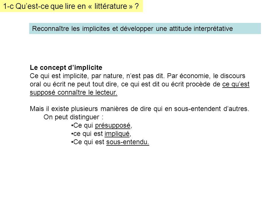 1-c Quest-ce que lire en « littérature » ? Reconnaître les implicites et développer une attitude interprétative Le concept dimplicite Ce qui est impli